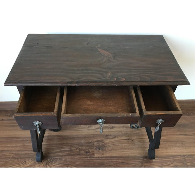 Exceptional Spanish 19th century side table with three drawers - Image 10 of 10