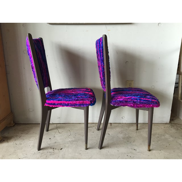 Vintage 1960s Furry Striped Accent Chairs - A Pair - Image 7 of 10