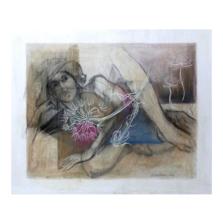 Abstracted Female Figure Mixed Media Drawing by Kathleen Ney For Sale