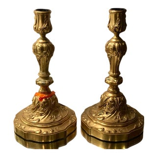 Pair of Antique Gilt Bronze Candlesticks For Sale
