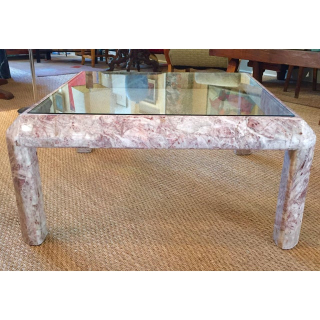 Modern Modernist Marble & Glass Cocktail Table For Sale - Image 3 of 7