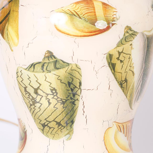 Decoupage Sea Shell Table Lamps - A Pair For Sale In West Palm - Image 6 of 9