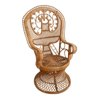 Vintage 1950s / 1960s Peacock Wicker Chair Bird Design For Sale