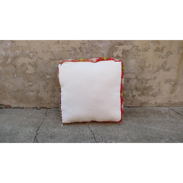 Moroccan Royal Blue & Light Pink Floor Pillow - Image 3 of 5