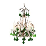 Image of Italian Vintage Beaded Chandelier With Emerald-Green Drops For Sale
