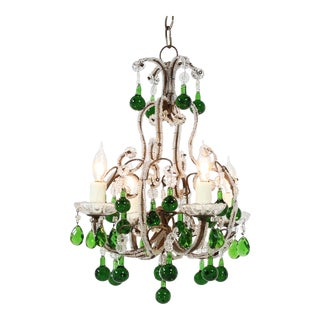 Italian Vintage Beaded Chandelier With Emerald-Green Drops For Sale
