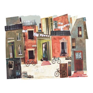 'Cat on a Stoop' by Claudette Castonguay, Urban Landscape Collage, Contemporary Canadian Woman Artist, Circa 1980 For Sale