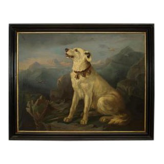 American Country (19th Cent) ebonized framed oil painting of seated white dog at overlook (signed)