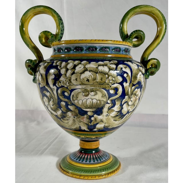 Vintage Italian Majolica Two-Handled Urn For Sale - Image 12 of 12