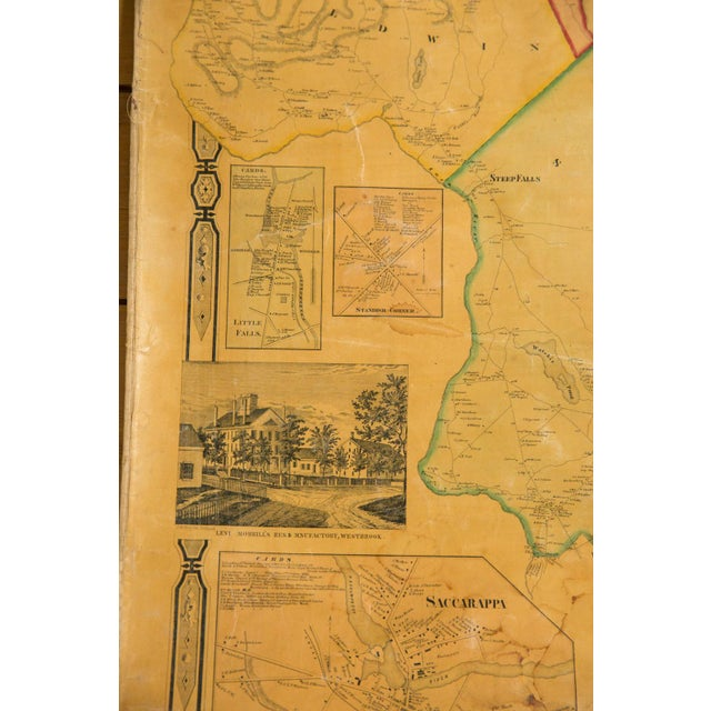 Green 1860s Cumberland County Maine Wall Map Featuring Portland For Sale - Image 8 of 11