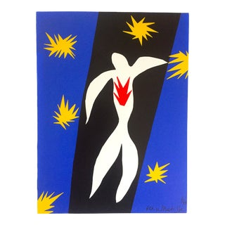 "Henri Matisse Rare Vintage 1991 Jazz Portfolio Lithograph Print "" La Chute D' LCarte / the Fall of Icarus "" 1943 For Sale"