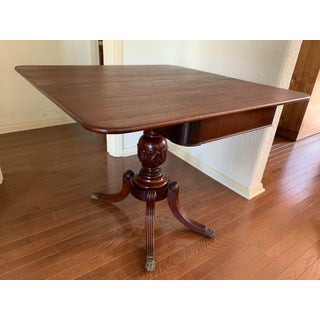 Antique Duncan Phyfe Style English Mahogany Pedestal Game Table Preview