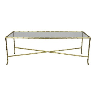 Maison Bagues French Bronze Faux Bamboo Glass Rectangular Coffee / Cocktail Table For Sale