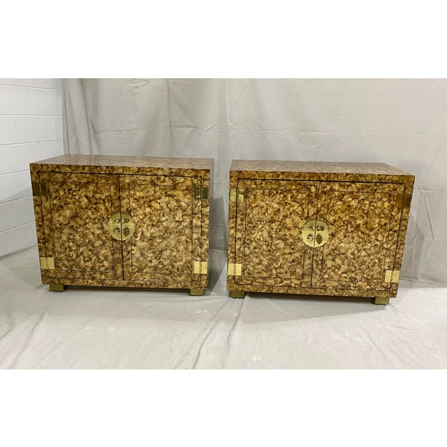 Vintage Henredon Faux Tortoiseshell Cabinets- a Pair For Sale - Image 11 of 13