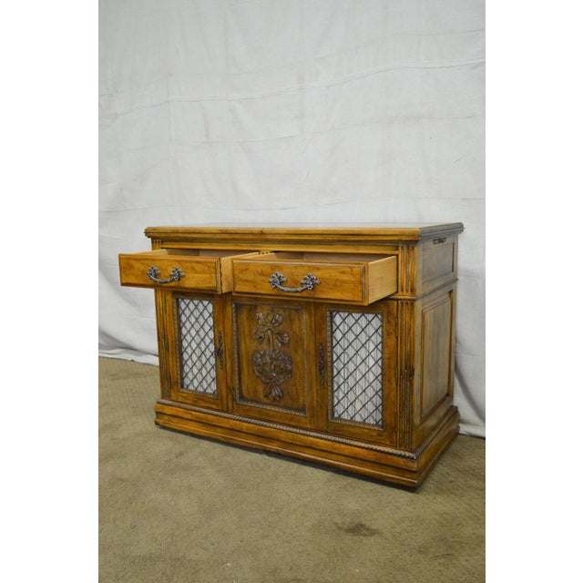 Davis Cabinet Co. Solid Walnut French Provincial Flip Top Server - Image 6 of 11