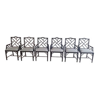 David Ross Britton Black Lacquer Chinese Chippendale Dining Armchairs - Set of 6 For Sale