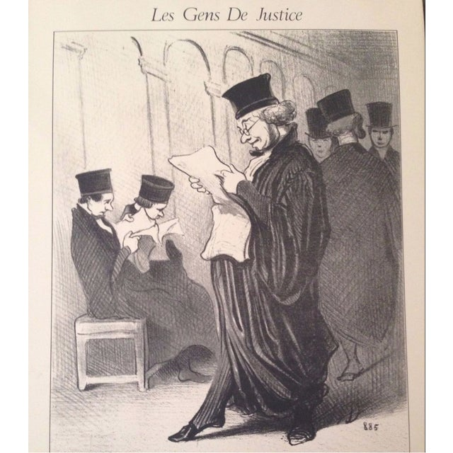 """Vintage Framed Honore Daumier Lithograph Print """"Les Gens De Justice"""" 885 Honore Daumier 1808-1879, French Artist who..."""