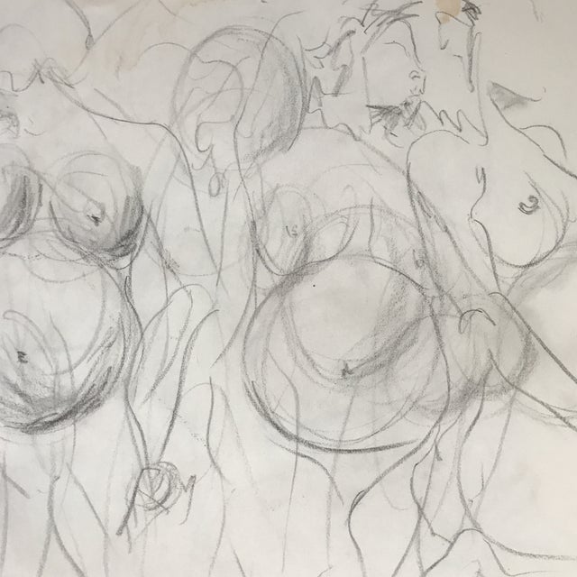 Figurative Pregnant Nude in Motion Drawing For Sale - Image 3 of 4