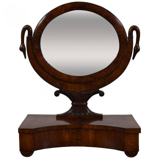 Italian Neoclassical Walnut One Drawer Dressing Mirror Chairish