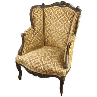 Arm Chair Louis XV Rococo Yellow Brocade Velour For Sale