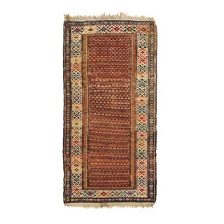 Antique Soumak Traditional Burgundy Red and Blue Wool Rug- 3′1″ × 6′1″ For Sale