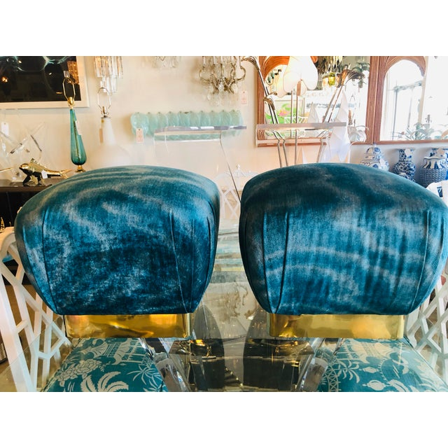 Vintage Hollywood Regency Aqua Velvet & Brass Poufs Ottomans Benches -A Pair For Sale - Image 11 of 13