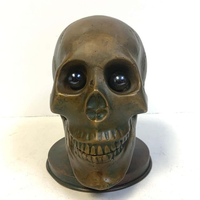 Victorian Bronze Skull With Glass Eyes, by s.w. Farber, New York For Sale - Image 4 of 10