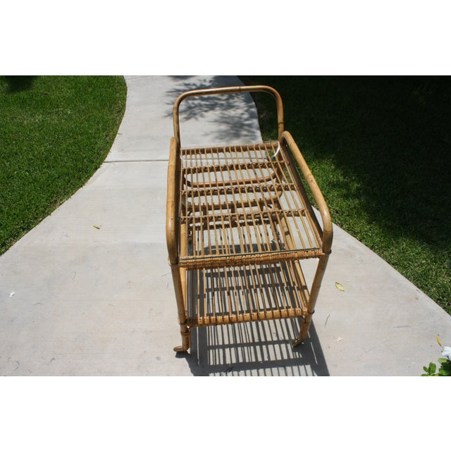 Bamboo Vintage Bamboo and Rattan Bar Cart / Tea Cart For Sale - Image 7 of 8