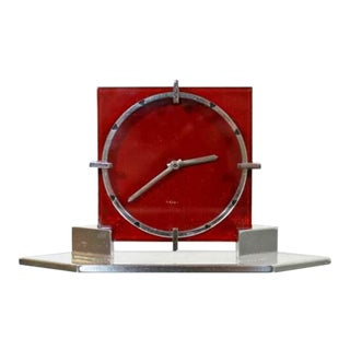 Art Deco French Chrome 8 Day Mantle Shelf Clock Red For Sale