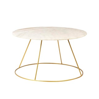 White Marble & Brass Coffee Table For Sale