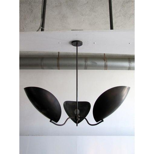 """Chiton"" Three Arm Brass Chandelier - Image 3 of 9"