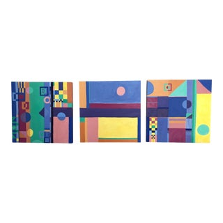 Contemporary Abstract Triptych of Paintings For Sale