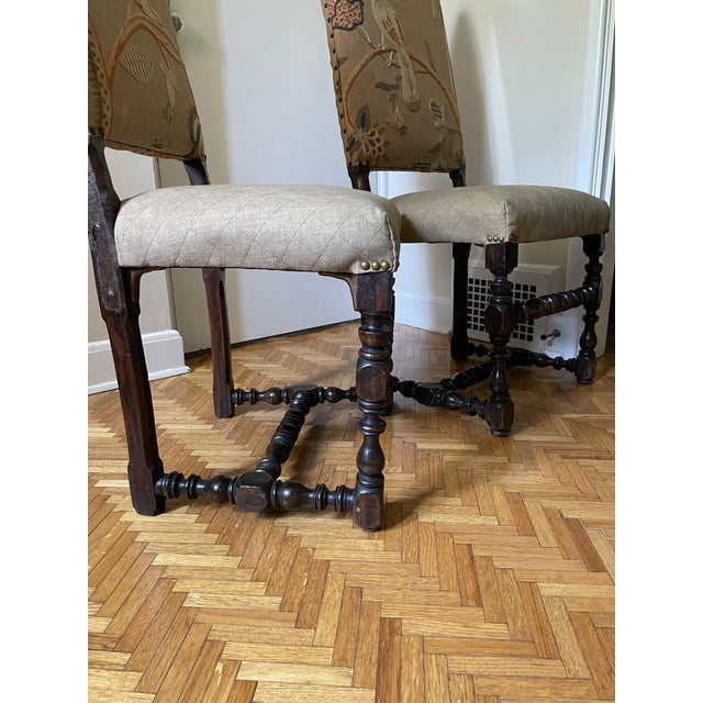 Mid 17th Century Walnut Franco Flemish Louis XIII Baroque Fireside Chairs - a Pair For Sale - Image 11 of 13