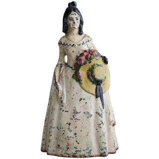 19th Century Cast Iron Hand Painted Polychrome Woman With Straw Hat Doorstop For Sale