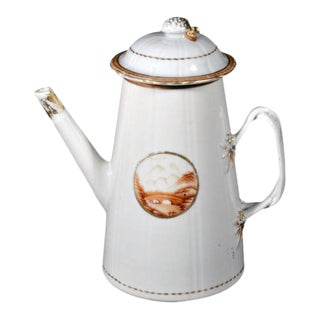 Chinese Export American Market Porcelain Lighthouse Coffee Pot and Cover For Sale