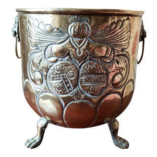 English Early 19th Century Brass Repousse Cachepot For Sale