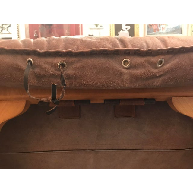 Vintage Mid Century Cognac Brown Leather Sofa For Sale - Image 11 of 13