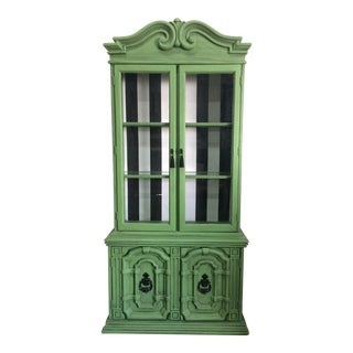 20th Century Chinoiserie Emerald Green Hutch For Sale