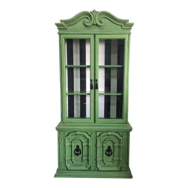 20th Century Chinoiserie Emerald Green Hutch For Sale