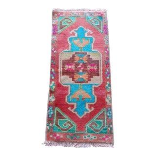 1960s Vintage Miniature Turkish Wool Rug - 16″ X 35″ For Sale