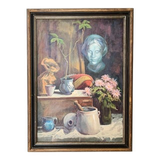 1960s Vintage Sharon Johnson Oil on Canvas Still Life Painting For Sale