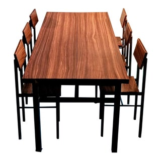 Solid Zebra Wood Handcrafted Dining Set For Sale