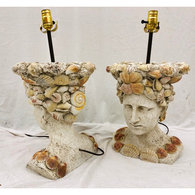Pair Vintage Seashell Covered Bust Sculptural Lamps For Sale - Image 12 of 13