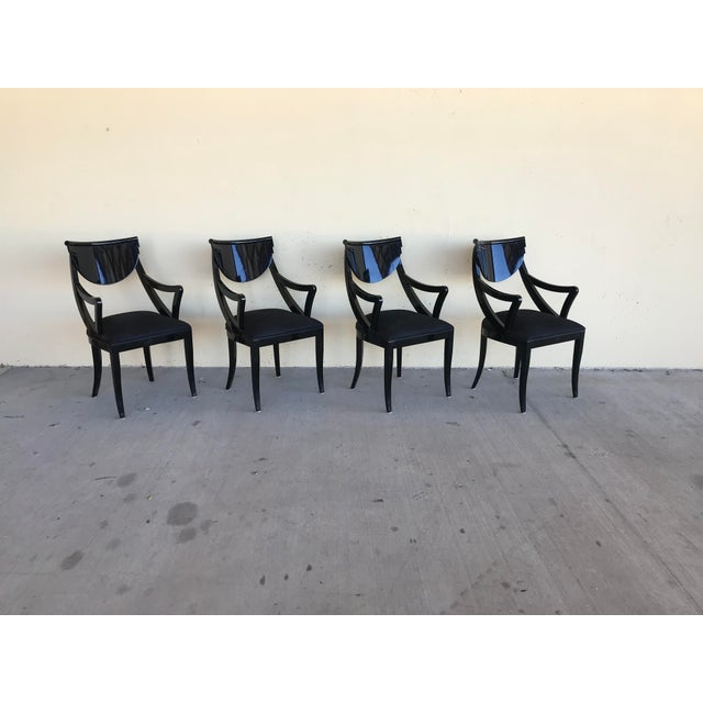 1980s Vintage Pietro Costantini Gondola Lacquered Dining Armchairs- Set of 4 For Sale - Image 10 of 11