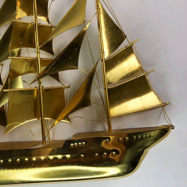 Metal Vintage Mid-Century Brass Ship Figurine For Sale - Image 7 of 10