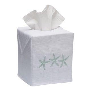 Aqua Three Starfish Tissue Box Cover in White Linen & Cotton, Embroidered For Sale