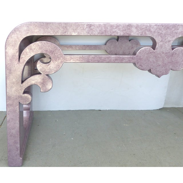 Inset Glass Top Scrolled Console Table - Image 3 of 9