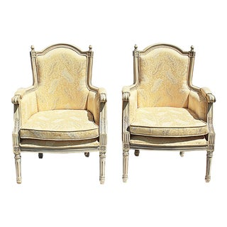 Vintage Louis XVI Style Club Chairs - a Pair For Sale