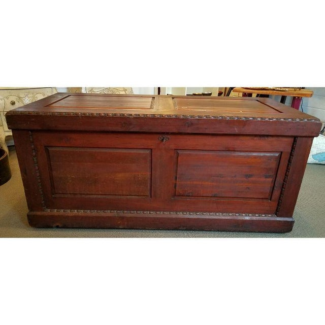 Victorian 19th Century Antique Victorian Carved Panel Cedar Chest For Sale - Image 3 of 12