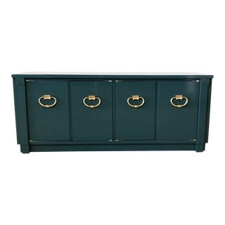 1960s Art Deco Green High Gloss Lacquer Credenza For Sale